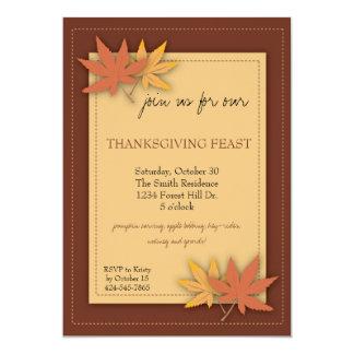 Invitación del fiesta de la acción de gracias invitación 12,7 x 17,8 cm