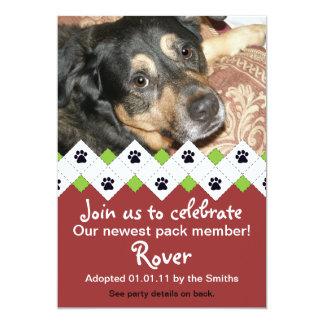 Invitación del fiesta de la adopción del perro/del invitación 12,7 x 17,8 cm