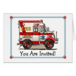 Invitación del fiesta de la ambulancia del camión  felicitacion