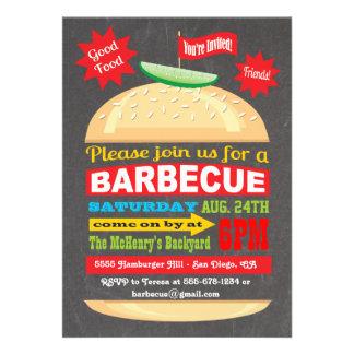 Invitación del fiesta de la barbacoa de la hamburg