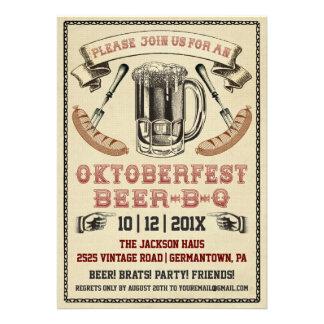 Invitación del fiesta de la Cerveza-B-q de Oktober