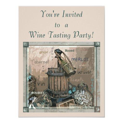 Invitación del fiesta de la degustación de vinos