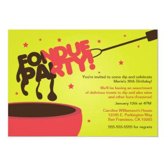 """Invitación del fiesta de la """"fondue"""" - chocolate"""