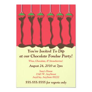"""Invitación del fiesta de la """"fondue"""" de la fresa y"""