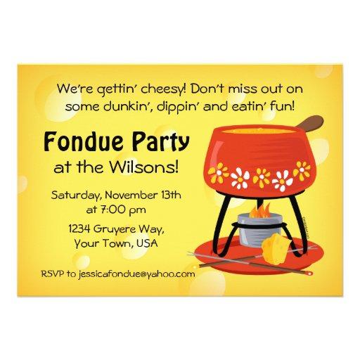 """Invitación del fiesta de la """"fondue"""" de queso"""