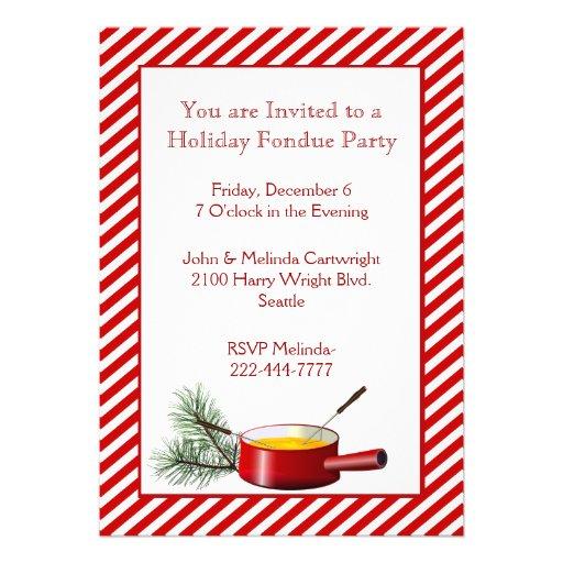 """Invitación del fiesta de la """"fondue"""" del día de fi"""