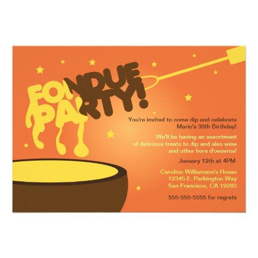 """Invitación del fiesta de la """"fondue"""" - queso"""