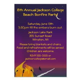 Invitación del fiesta de la hoguera de la playa