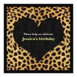 Invitación del fiesta de la impresión del guepardo invitación 13,3 cm x 13,3cm