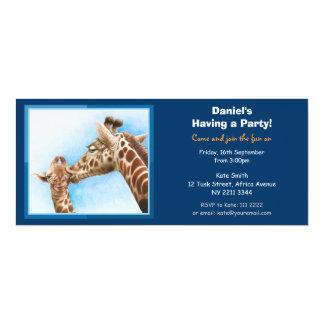 Invitación del fiesta de la jirafa y del becerro
