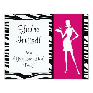 Invitación del fiesta de la moda de las rosas invitación 10,8 x 13,9 cm