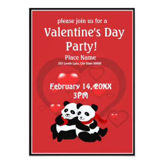 Invitación del fiesta de la panda del corazón del