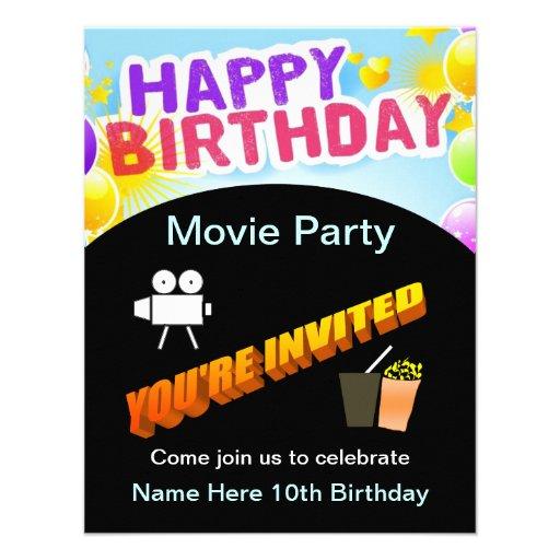 Invitación del fiesta de la película del feliz cum