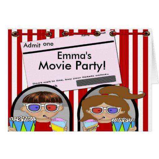 Invitación del fiesta de la película tarjeta de felicitación