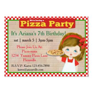 Invitación del fiesta de la pizza de los chicas