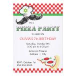 Invitación del fiesta de la pizza del chica