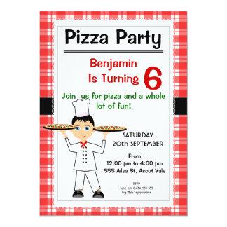 Invitación del fiesta de la pizza del cumpleaños