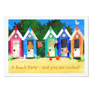 Invitación del fiesta de la playa - chozas de la