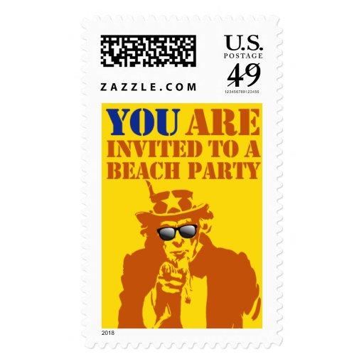 Invitación del fiesta de la playa sellos