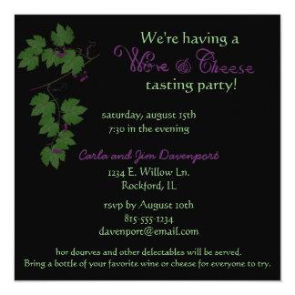 Invitación del fiesta de la prueba del vino y del