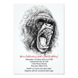 Invitación del fiesta de la rabia del gorila