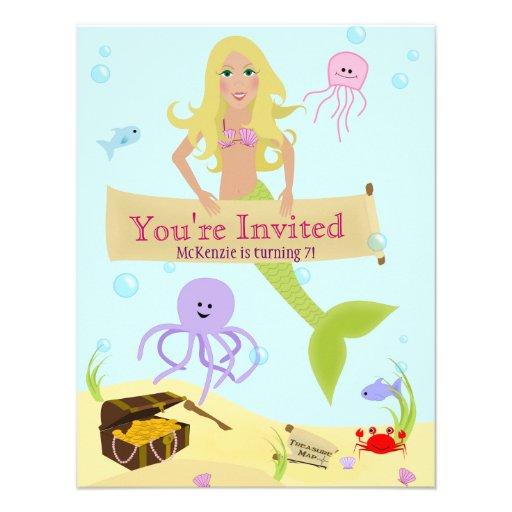 Invitación del fiesta de la sirena
