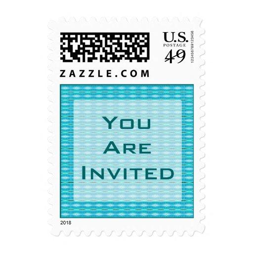 Invitación del fiesta de la turquesa timbres postales