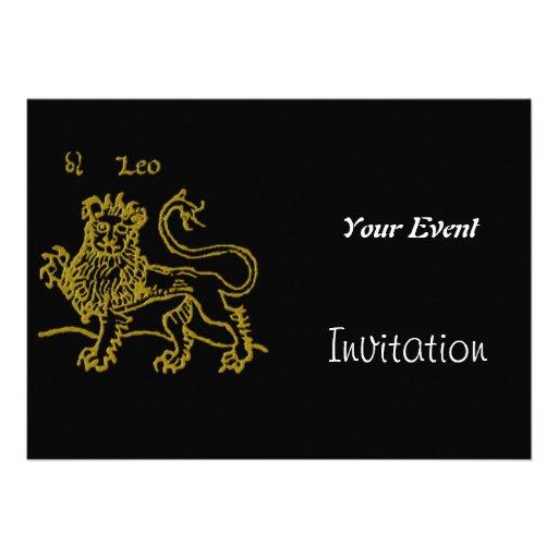 Invitación del fiesta de Leo del art déco