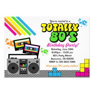 invitación del fiesta de los años 80
