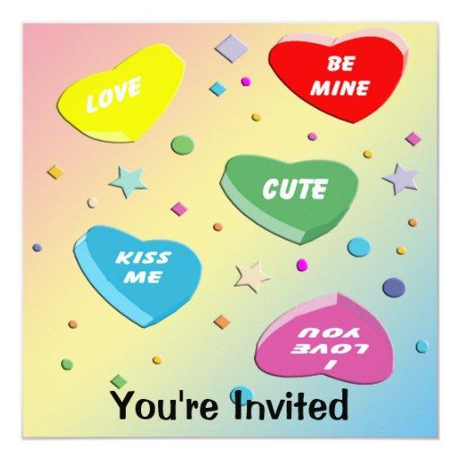 Invitación del fiesta de los corazones del