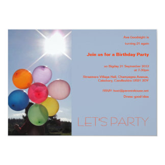Invitación del fiesta de los globos