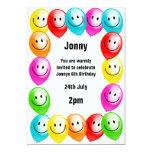 Invitación del fiesta de los globos del cumpleaños invitación 12,7 x 17,8 cm