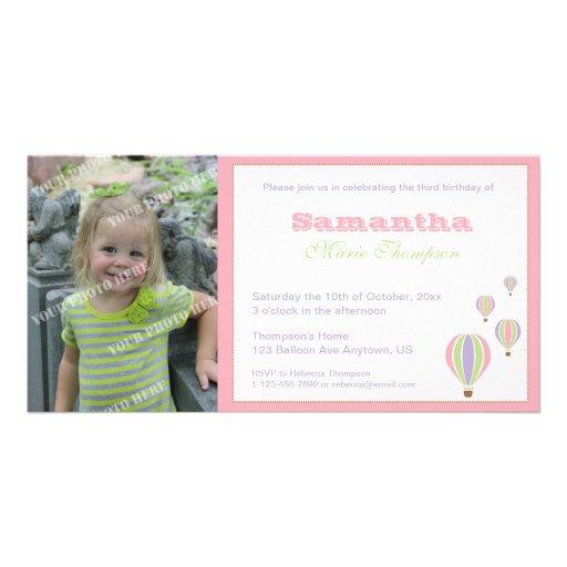 Invitación del fiesta de los globos del cumpleaños tarjetas con fotos personalizadas