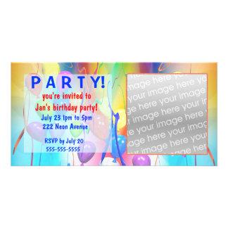 Invitación del fiesta de los globos del cumpleaños plantilla para tarjeta de foto