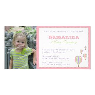 Invitación del fiesta de los globos del cumpleaños tarjetas fotograficas personalizadas