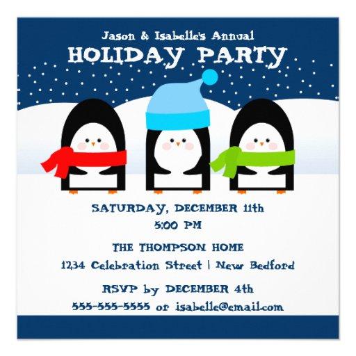 Invitación del fiesta de los pingüinos del inviern