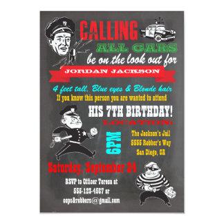 Invitación del fiesta de los polis y de los invitación 12,7 x 17,8 cm