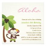 Invitación del fiesta de Luau del mono de Hula