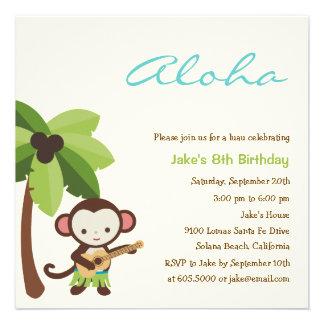 Invitación del fiesta de Luau del mono del Ukulele