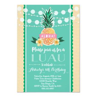 Invitación del fiesta de Luau para el cumpleaños,