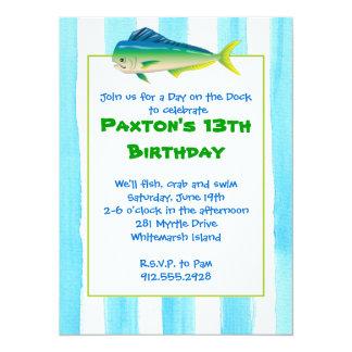 Invitación del fiesta de Mahi Mahi Invitación 13,9 X 19,0 Cm