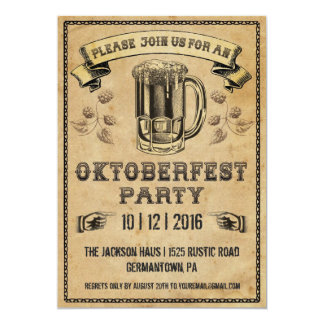 Invitación del fiesta de Oktoberfest Invitación 12,7 X 17,8 Cm