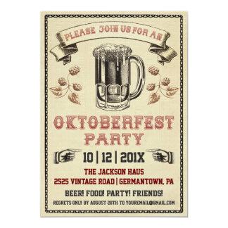 Invitación del fiesta de Oktoberfest del vintage Invitación 12,7 X 17,8 Cm