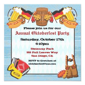 Invitación del fiesta de Oktoberfest en viejo Invitación 13,3 Cm X 13,3cm