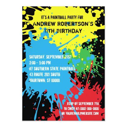 Invitación del fiesta de Paintball Splat