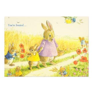Invitación del fiesta de Pascua de los conejitos
