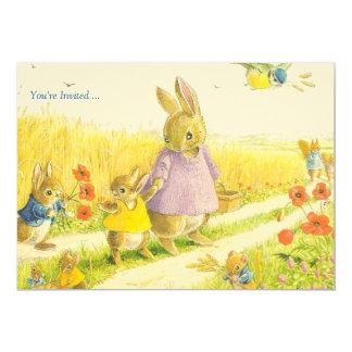 Invitación del fiesta de Pascua de los conejitos Invitación 12,7 X 17,8 Cm