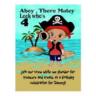 Invitación del fiesta de Pete del pirata Postal