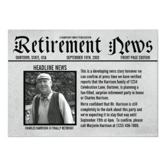 Invitación del fiesta de retiro del periódico de