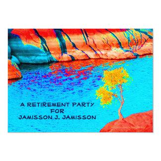 Invitación del fiesta de retiro, paisaje colorido